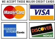 Major Credit Cards: Visa, Mastercard, Discover, American Express